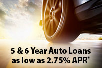 5&6 Year Auto Loans as Low as 2.75% APR*
